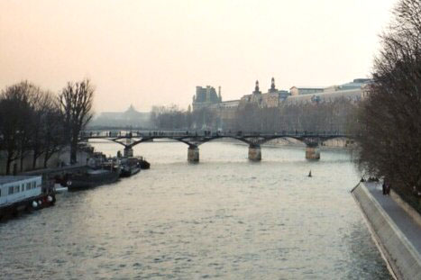 view of the River Seine toward the Louvre